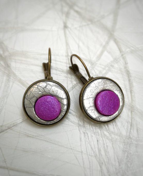 Pendientes arcilla polimerica plateados y lila
