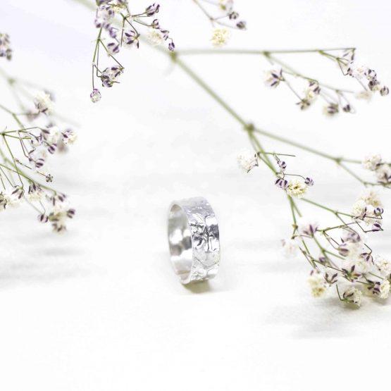 Anillo floral plata