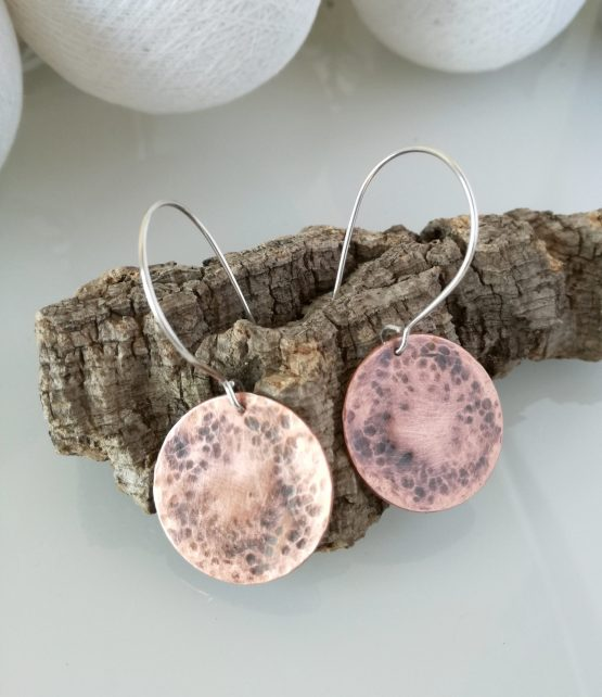 /Cooper and silver earrings